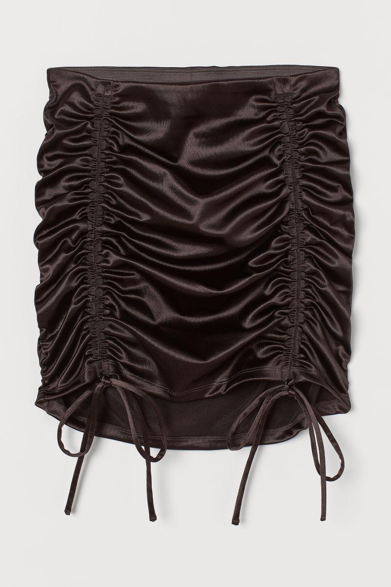 H & M - 垂墜感短裙 - 黑色