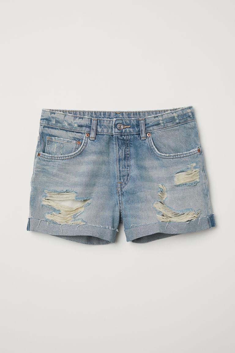 H & M - 丹寧男友短褲 - 藍色