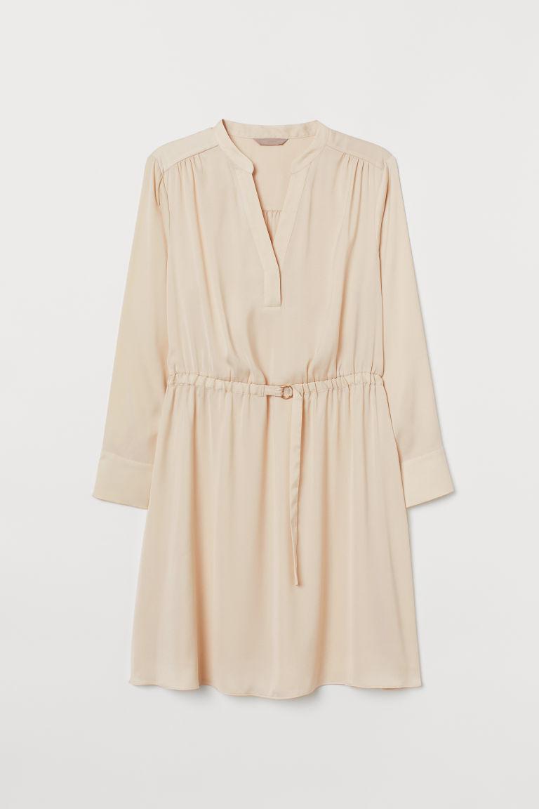 H & M - H & M+ V領洋裝 - 米黃色