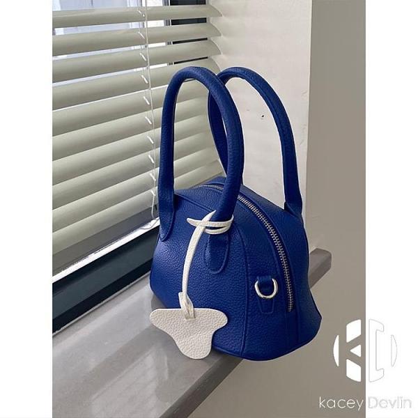 藍色荔枝紋軟糯質感單肩手提小包包春夏韓版百搭斜挎包女【Kacey Devlin】