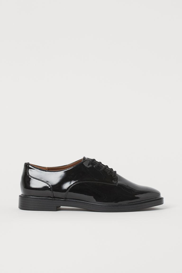 H & M - 漆皮德比鞋 - 黑色