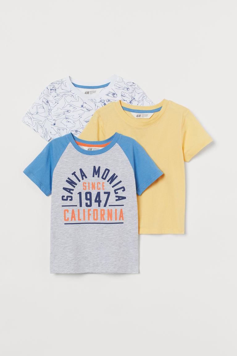H & M - 3件入棉質T恤 - 灰色