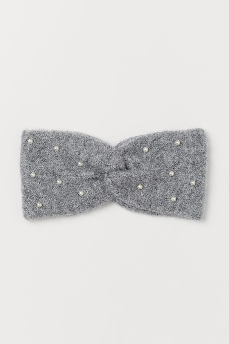 H & M - 珠飾髮帶 - 灰色