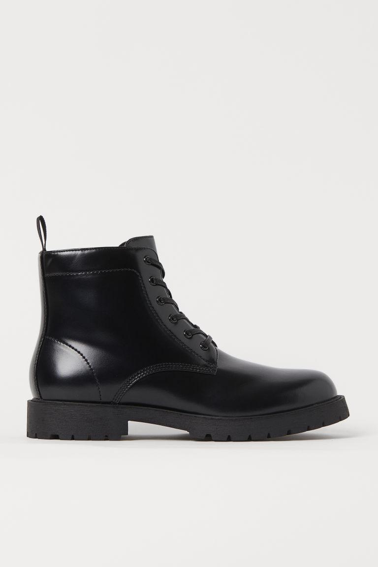 H & M - 綁帶靴 - 黑色