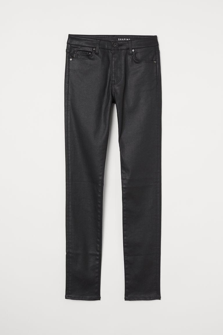 H & M - 塑身窄管中腰牛仔褲 - 黑色