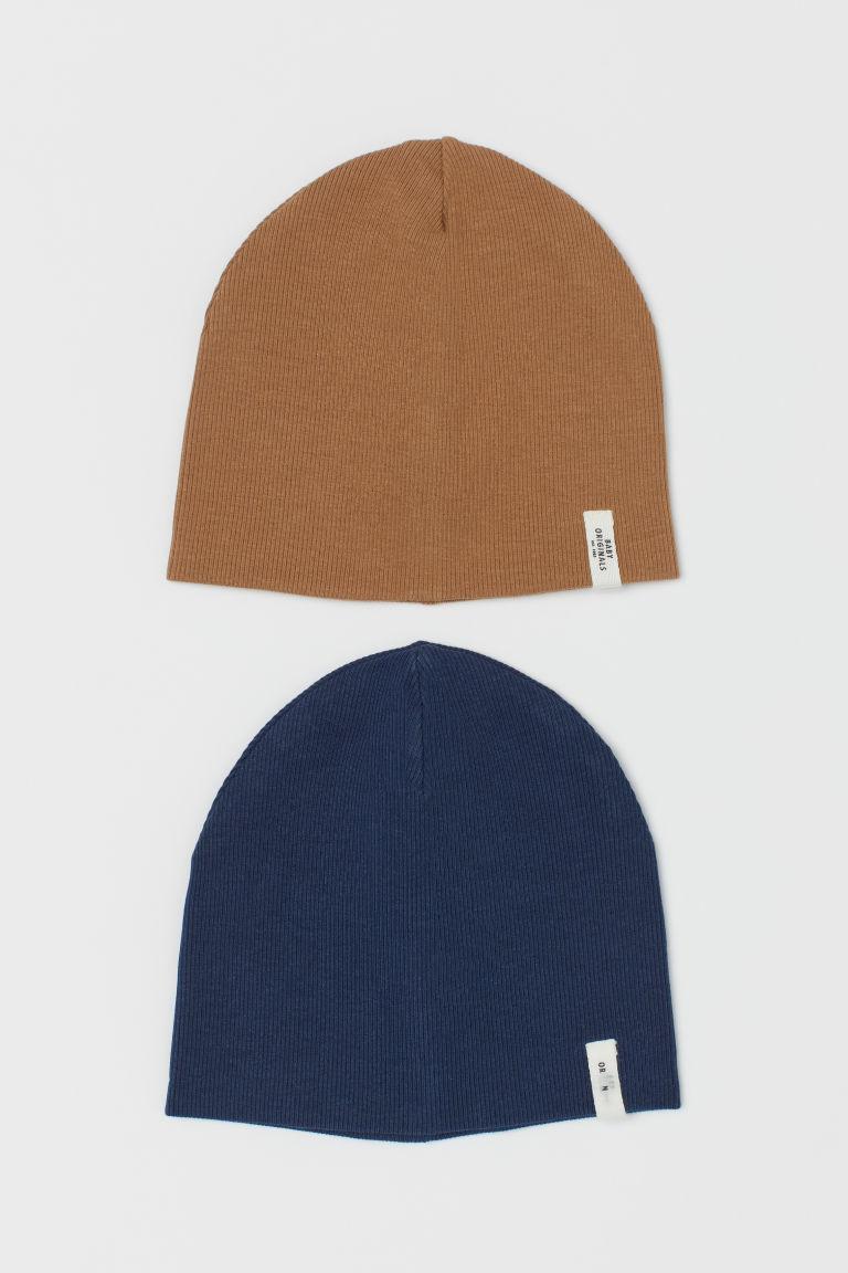 H & M - 2入裝羅紋帽 - 藍色
