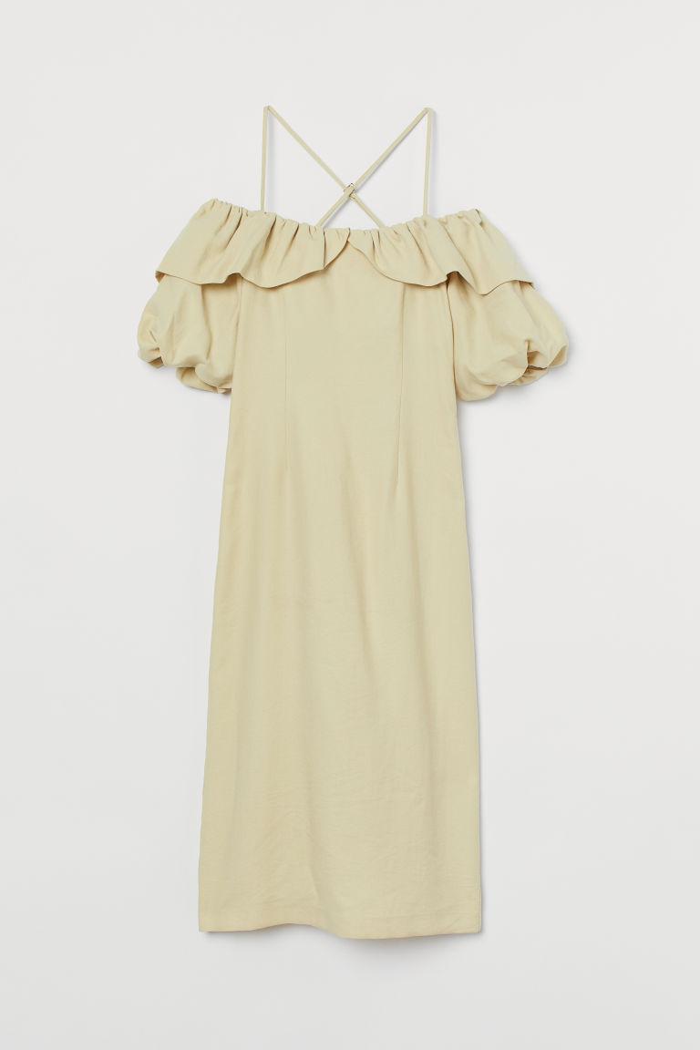 H & M - 萊賽爾混紡洋裝 - 黃色
