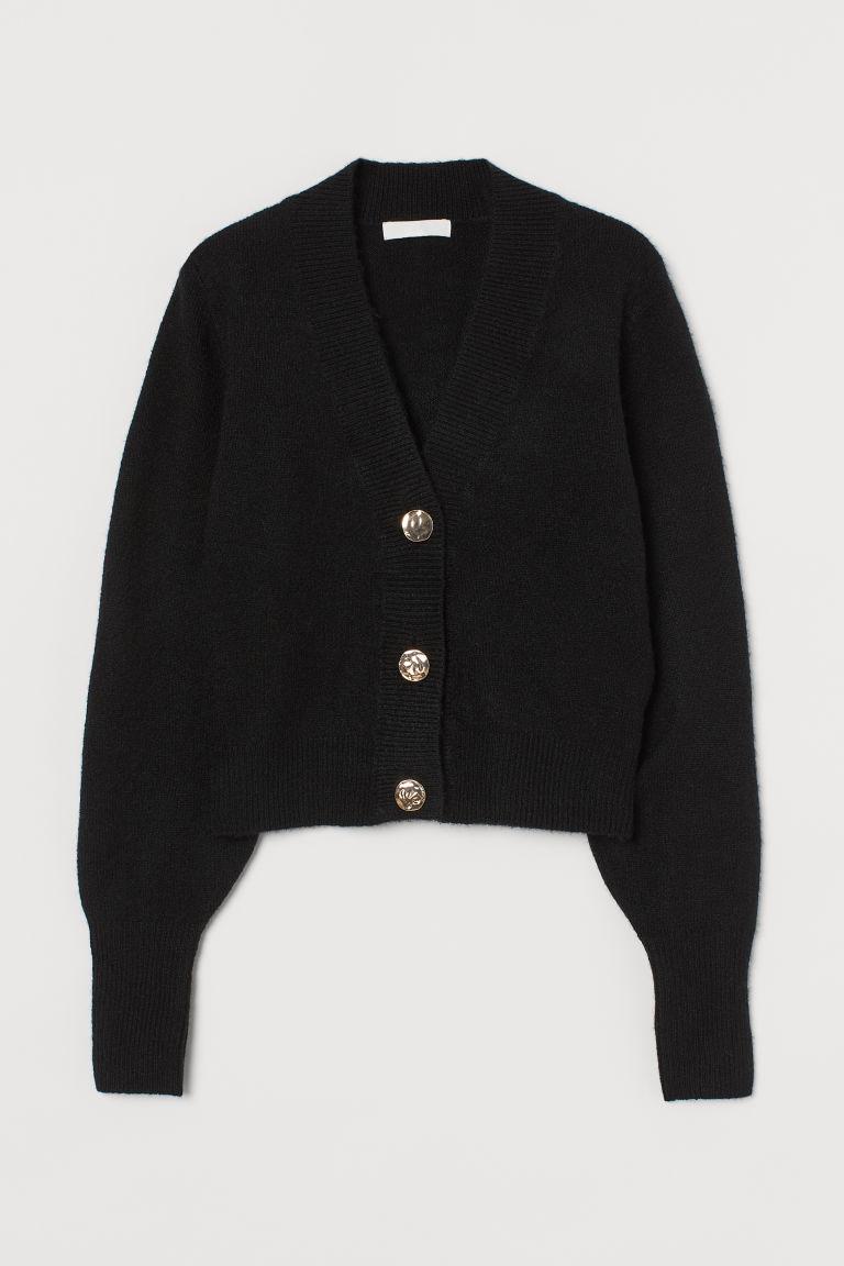 H & M - 針織開襟衫 - 黑色