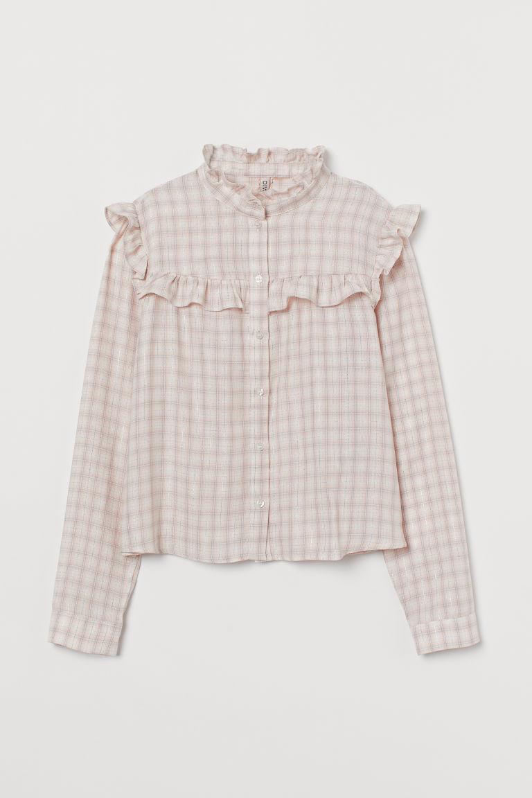 H & M - 荷葉邊女衫 - 粉紅色