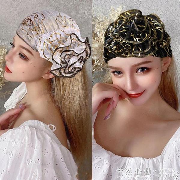 優雅立體大花朵透氣燙金薄紗春夏包頭帽遮白發頭巾帽子發帶套頭帽 怦然新品