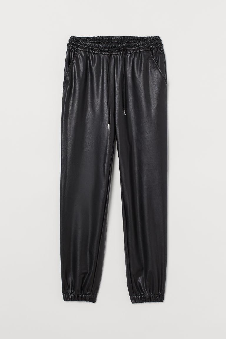 H & M - 仿皮慢跑褲 - 黑色