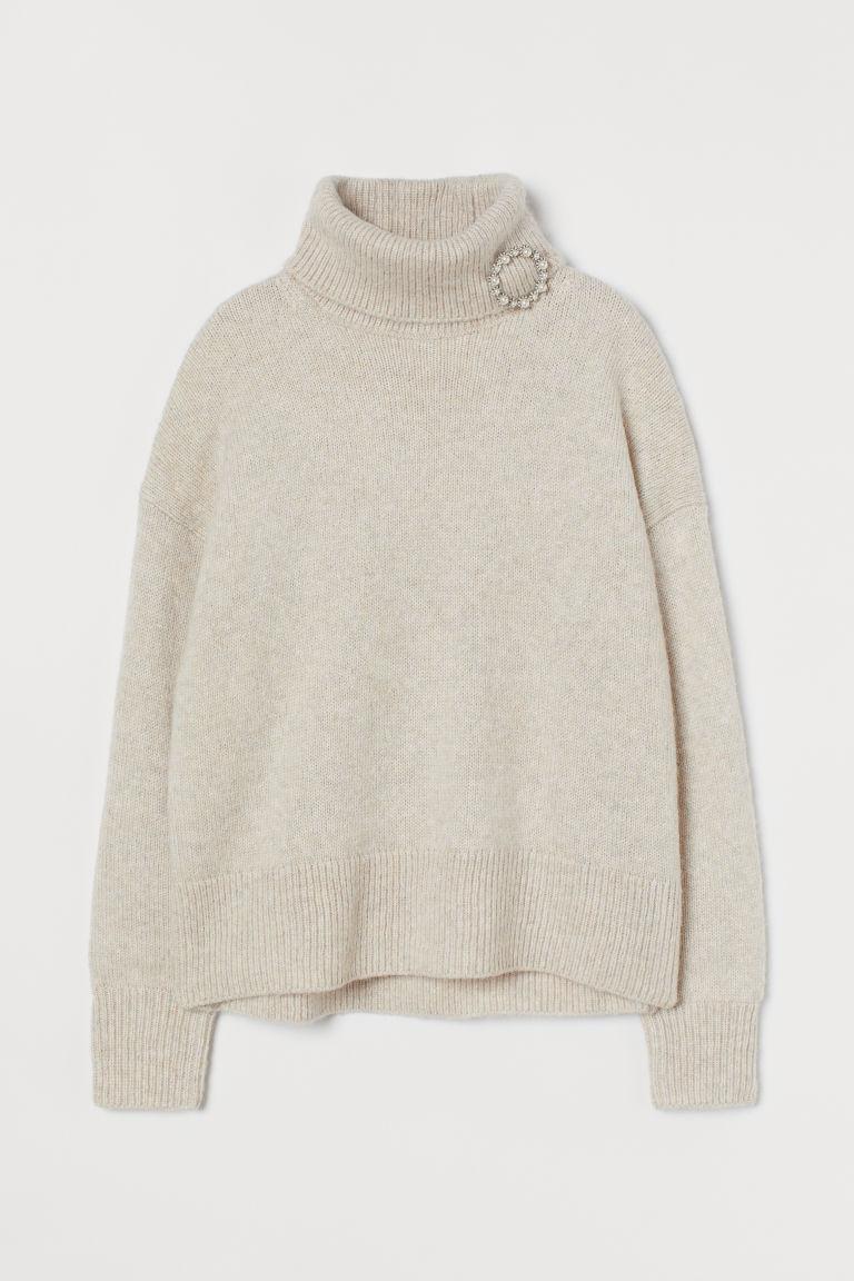 H & M - 配胸針圓高領套衫 - 褐色