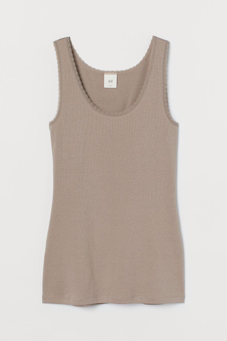 H & M - 蕾絲飾邊背心上衣 - 褐色