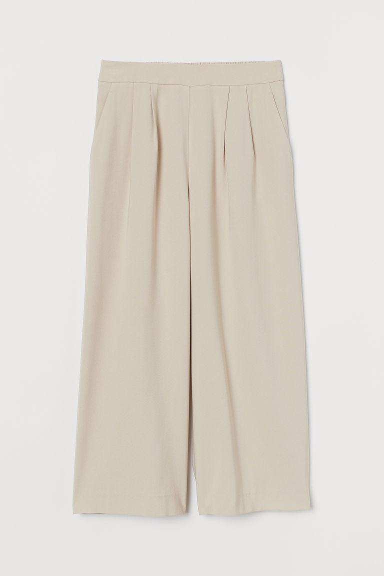 H & M - 寬管褲 - 米黃色