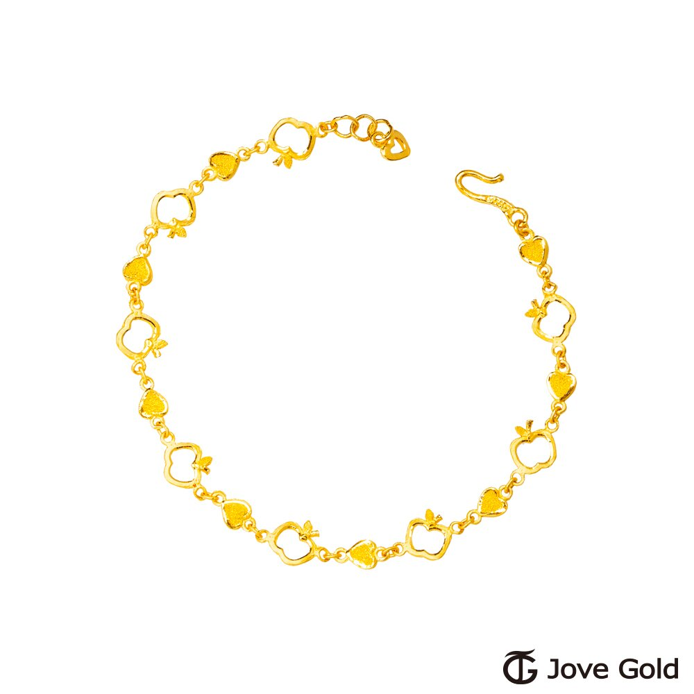 JoveGold漾金飾 心動蘋率黃金手鍊-雙面設計