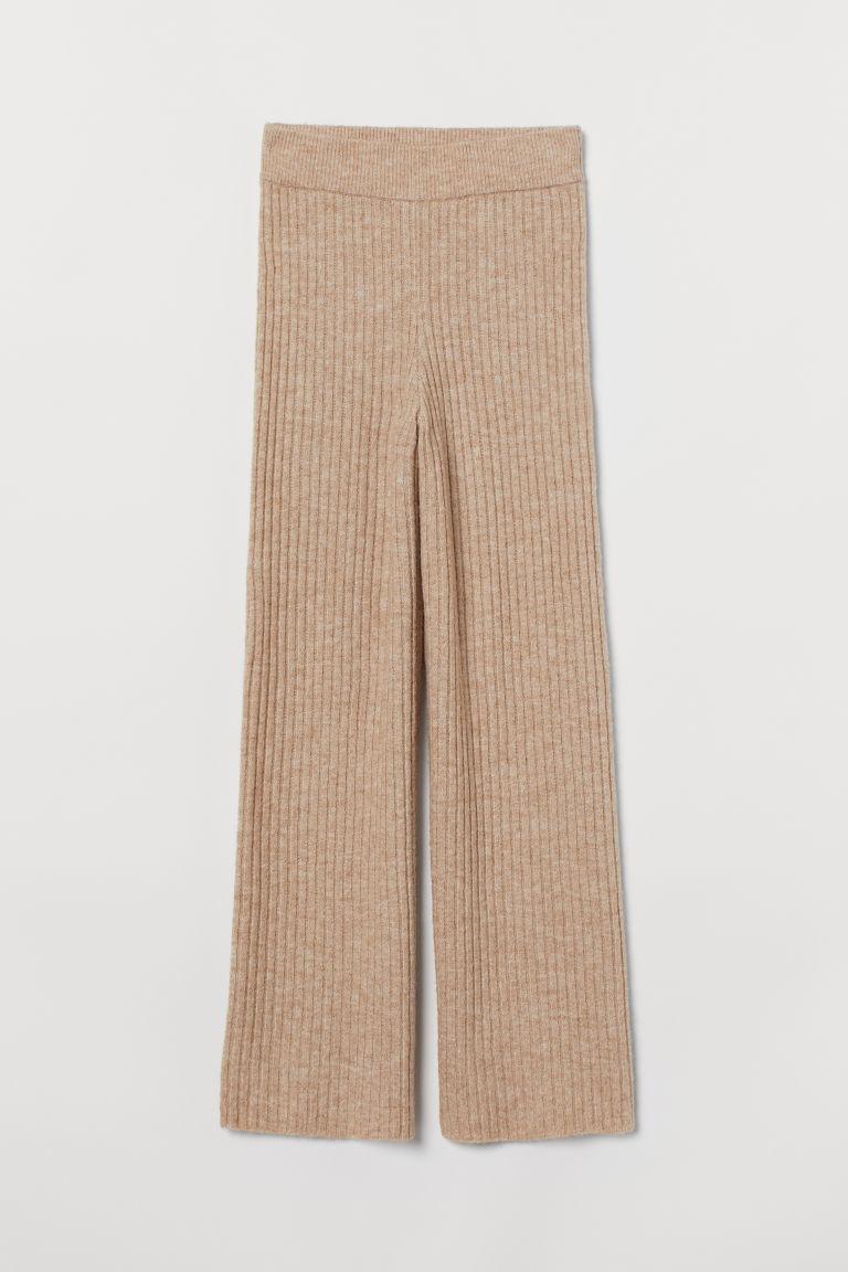 H & M - 針織長褲 - 米黃色