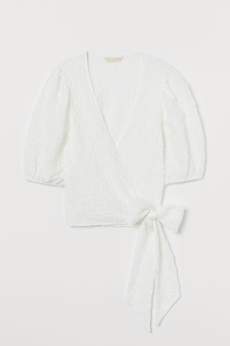H & M - 短版交疊式上衣 - 白色