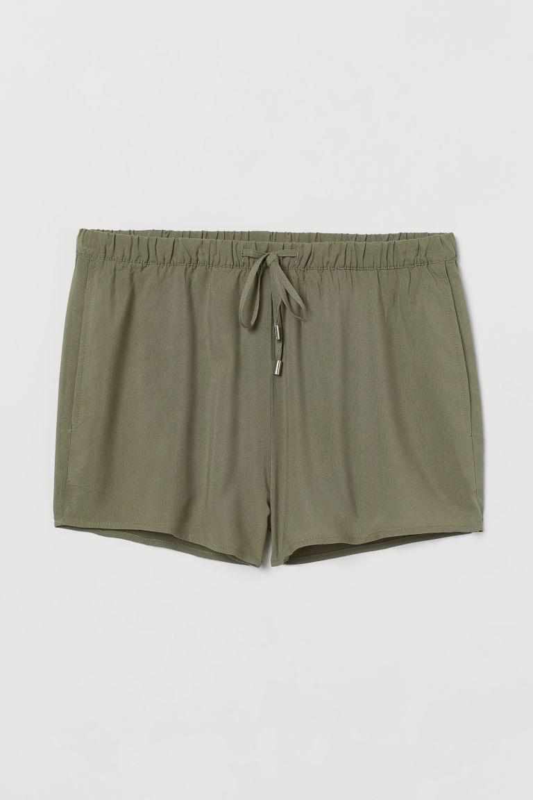H & M - 鬆緊式短褲 - 綠色