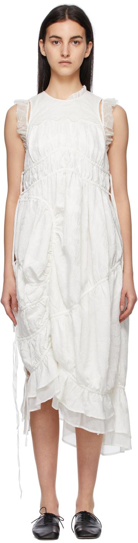 Renli Su 白色抽褶连衣裙