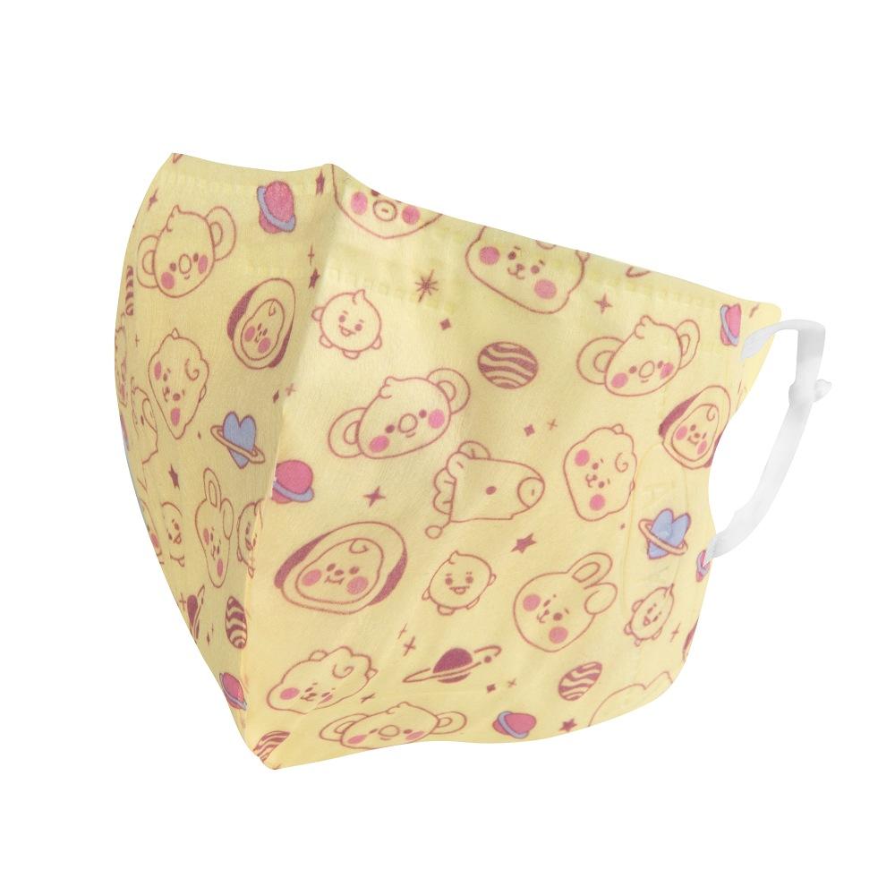 【預購享全館滿額贈浴巾】BT21 3D立體口罩-黃M(盒裝25入/BABY系列)