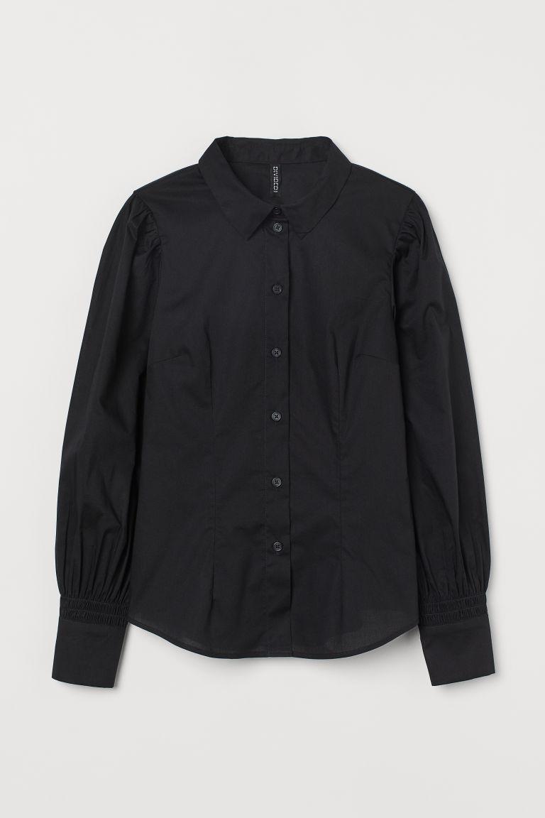 H & M - 公主袖棉質襯衫 - 黑色