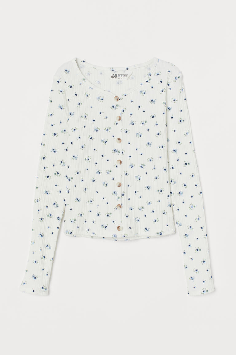 H & M - 鈕扣平紋上衣 - 白色