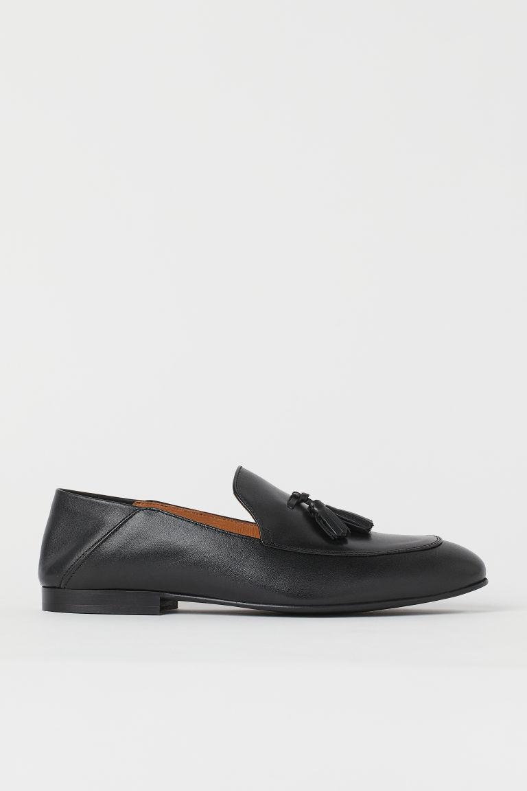 H & M - 穗飾真皮樂福鞋 - 黑色