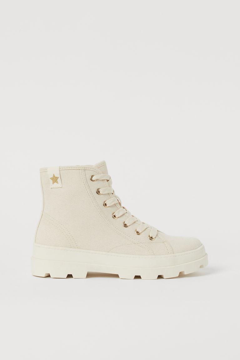 H & M - 棉質帆布靴 - 米黃色