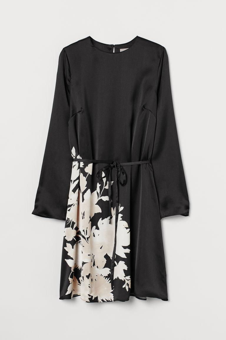 H & M - 圖案綢緞洋裝 - 黑色