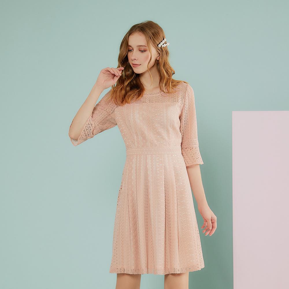 OUWEY歐薇 浪漫蕾絲七分袖洋裝(粉)J07730