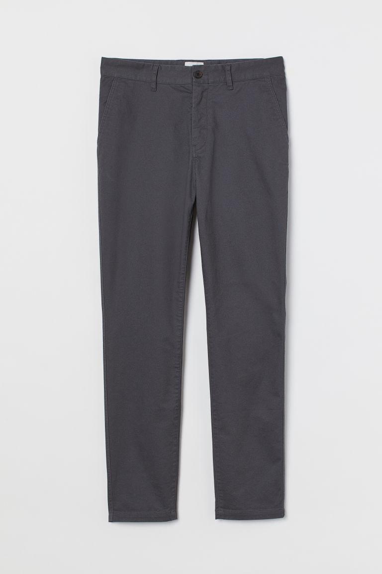 H & M - 緊身棉質卡其褲 - 灰色