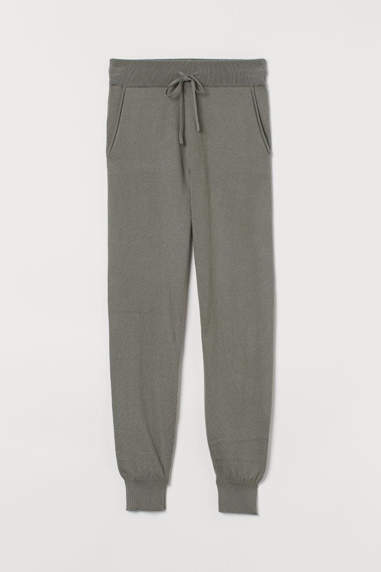 H & M - 喀什米爾羊毛混紡慢跑褲 - 綠色