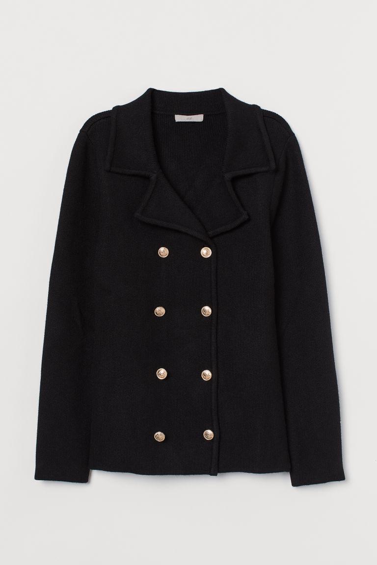 H & M - 雙排扣開襟衫 - 黑色