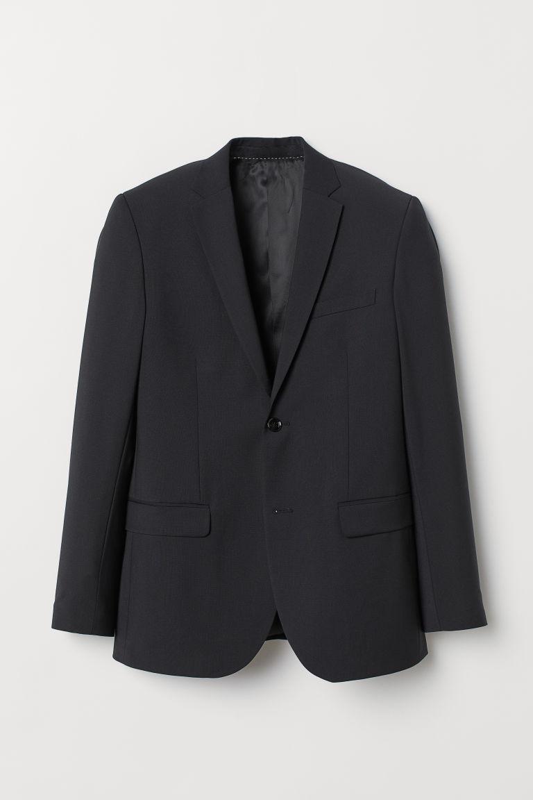 H & M - 貼身羊毛混紡外套 - 黑色