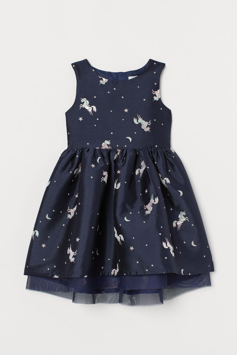 H & M - 提花平織洋裝 - 藍色