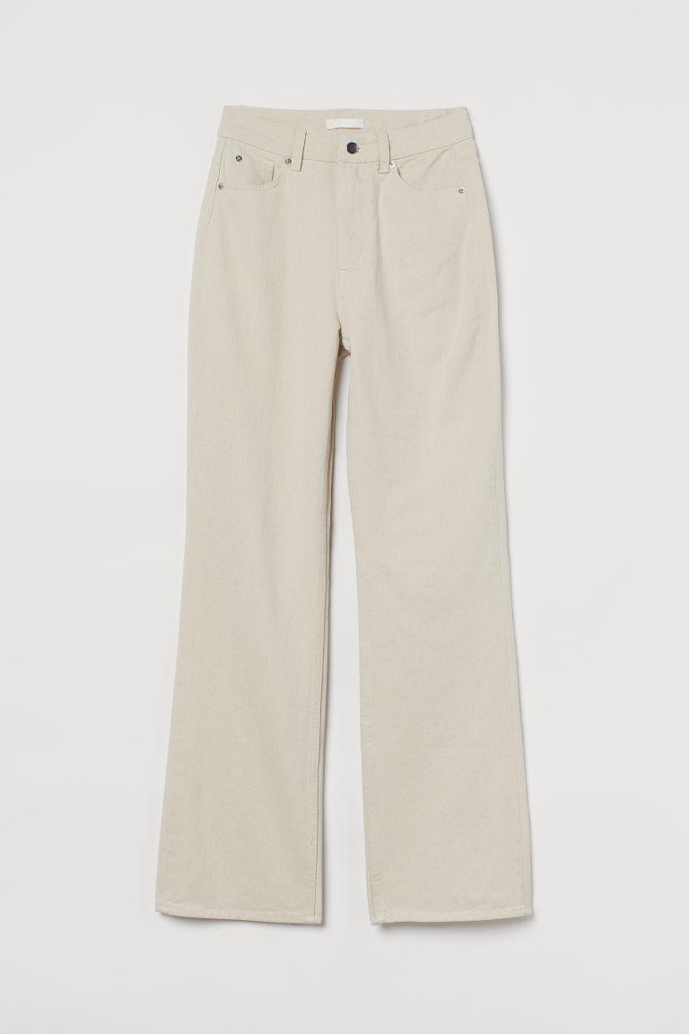 H & M - 直筒高腰牛仔褲 - 白色