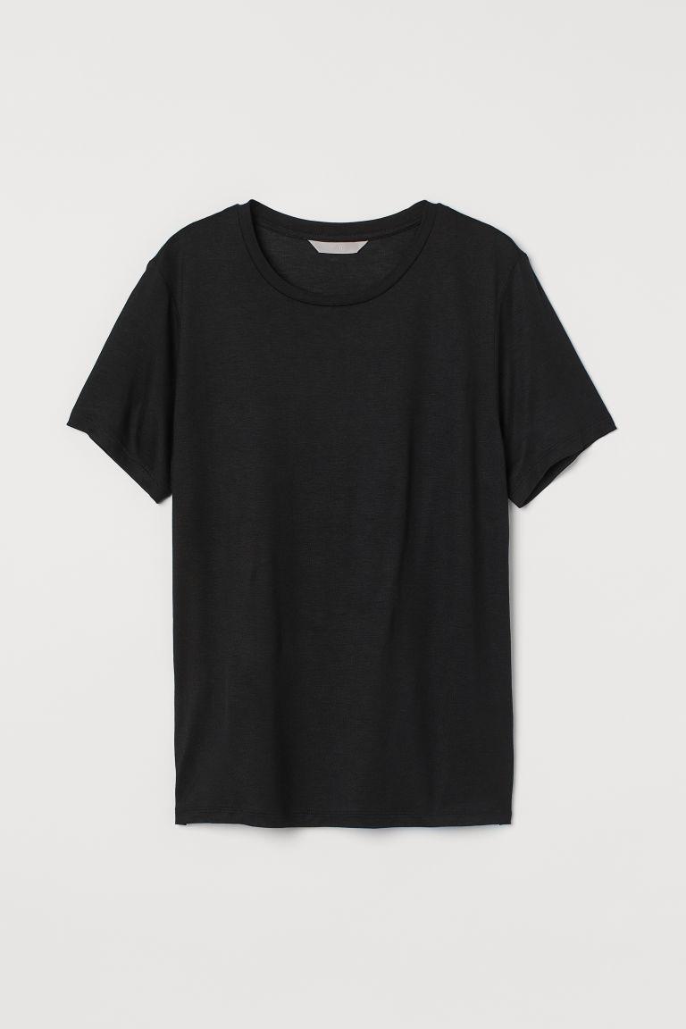 H & M - 直身剪裁T恤 - 黑色