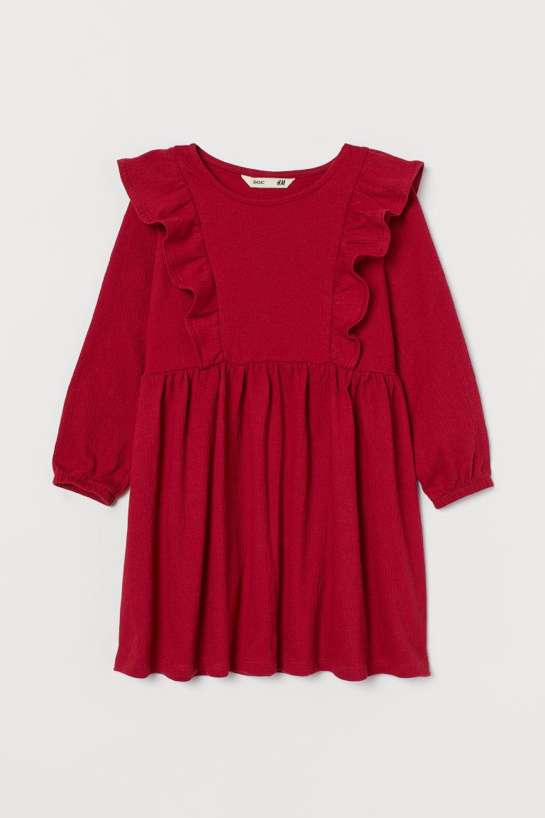 H & M - 荷葉邊平紋洋裝 - 紅色