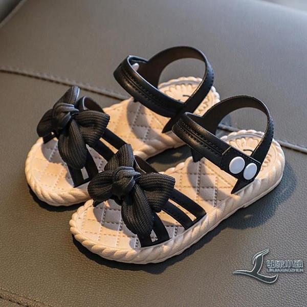 女童涼鞋蝴蝶結公主鞋寶寶塑膠學生鞋搭扣兒童涼鞋女孩沙灘鞋【邻家小鎮】
