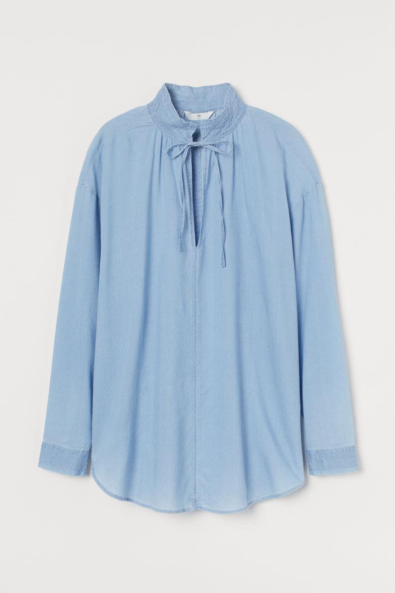 H & M - 萊賽爾混紡女衫 - 藍色