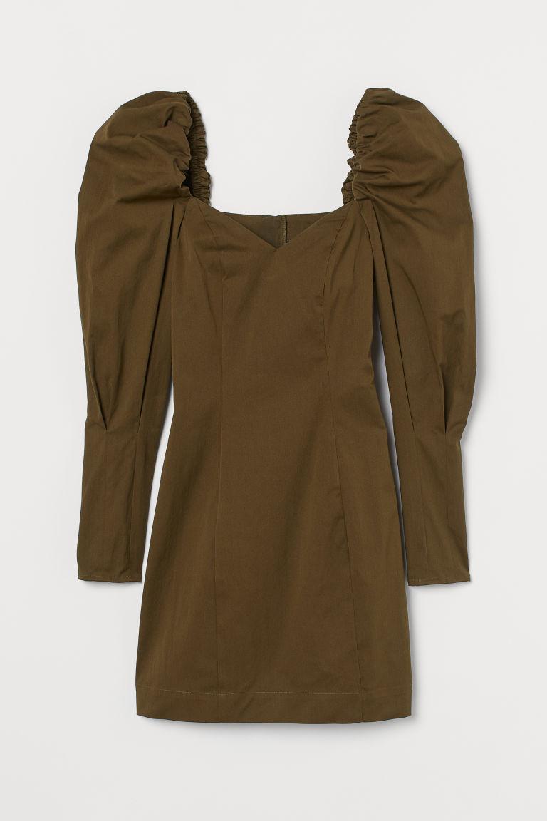 H & M - 公主袖洋裝 - 綠色