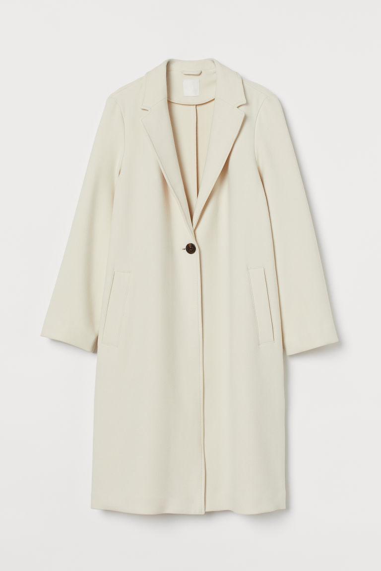 H & M - 單排扣大衣 - 米黃色