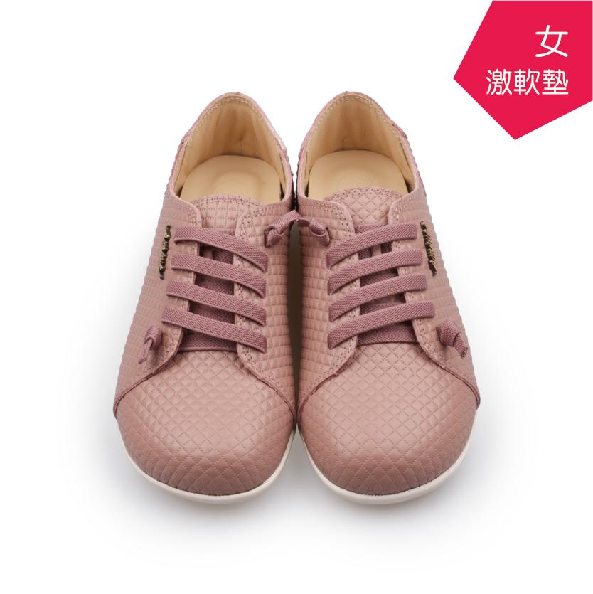 【A.MOUR 經典手工鞋】特色饅頭鞋 - 格紋粉(2836)