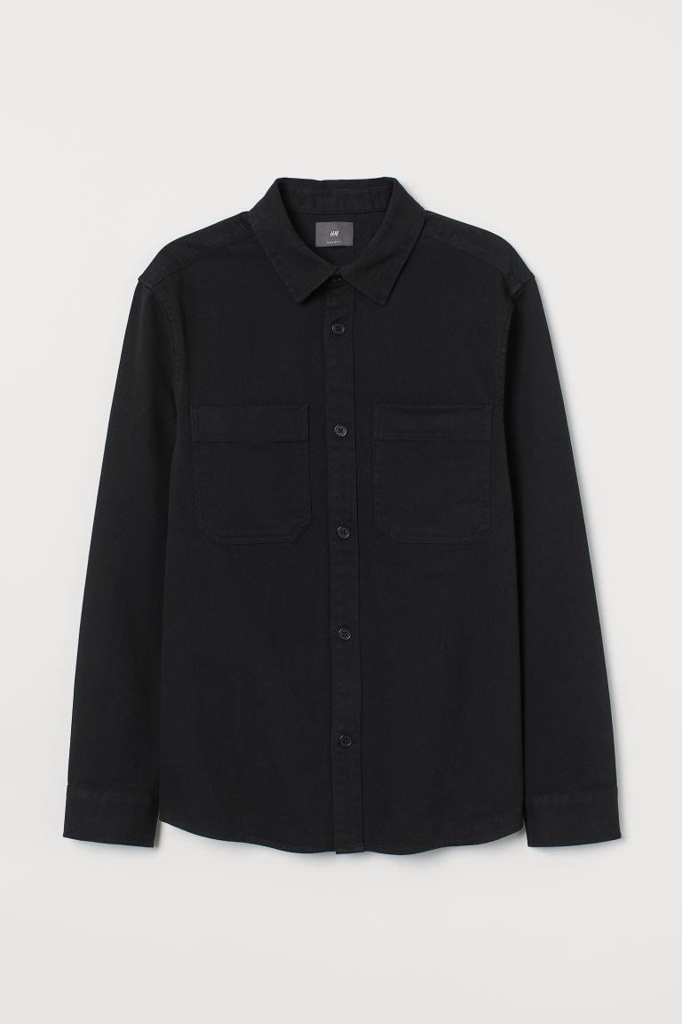 H & M - 標準剪裁襯衫式外套 - 黑色