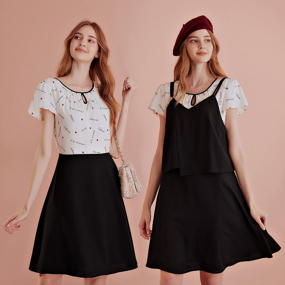 OUWEY歐薇 愛心印花真兩件吊帶洋裝(黑)J58735