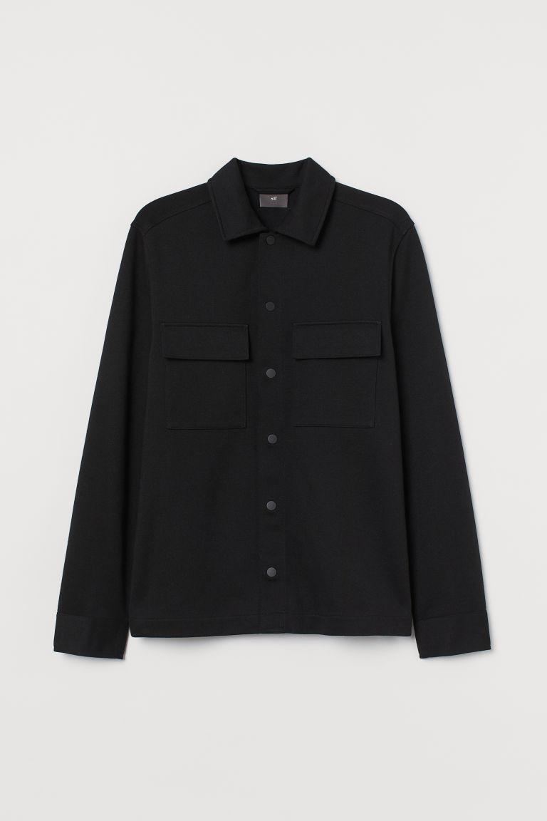 H & M - 平紋襯衫式外套 - 黑色