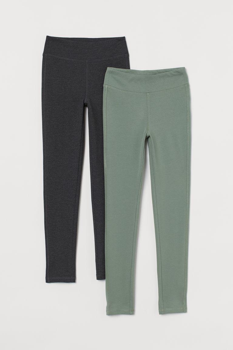 H & M - 2件入運動內搭褲 - 綠色