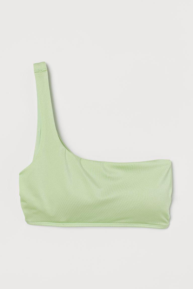 H & M - 斜肩比基尼上衣 - 綠色