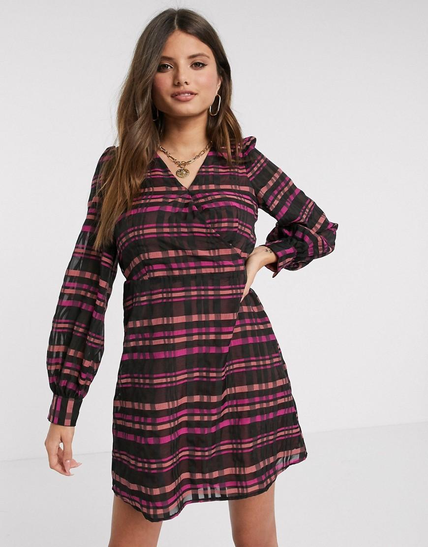 Vero Moda wrap dress with volume sleeves in purple check-Multi