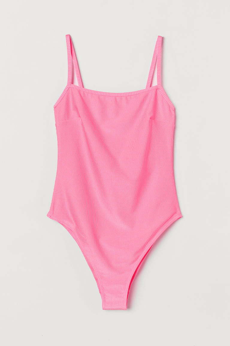 H & M - 高衩連身泳裝 - 粉紅色
